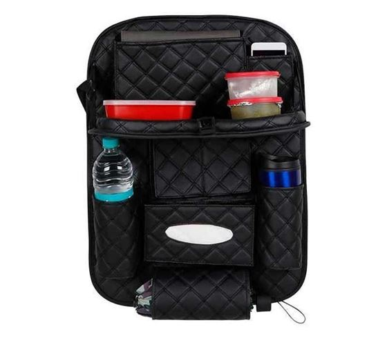 Picture of 7D Designer Car Auto Seat Back Multi Pocket Storage Bag Organizer with Car Meal Tray - Black