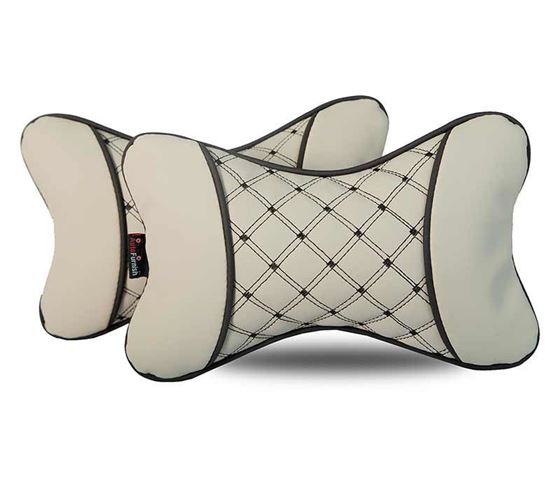 Picture of 7D Premium Car Pillow Neck Rest (Hecta-6840) - Set of Two - Beige