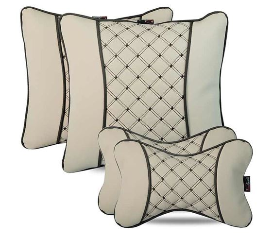 Picture of Combo of 7D Premium Car Pillow Neck Rest (Hecta-6841) & Back Cushion (Hecta-6851) - Each Set of Two - Beige
