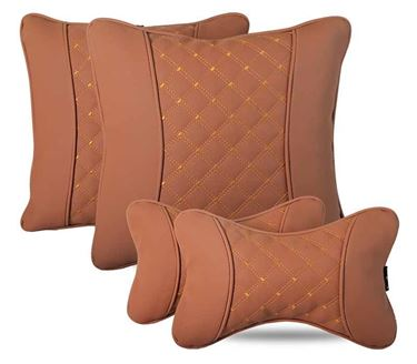 Picture of Combo of 7D Premium Car Pillow Neck Rest (Hecta-6842) & Back Cushion (Hecta-6852) - Each Set of Two - Tan