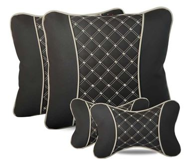 Picture of Combo of 7D Premium Car Pillow Neck Rest (Hecta-6843) & Back Cushion (Hecta-6853) - Each Set of Two - Coffee