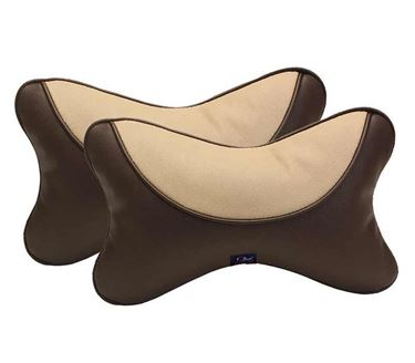 Picture of Premium Car Pillow Neck Rest (Hecta-6730) Set of Two - Brown