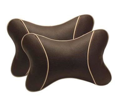 Picture of Premium Car Pillow Neck Rest (Hecta-6740) Set of Two - Brown