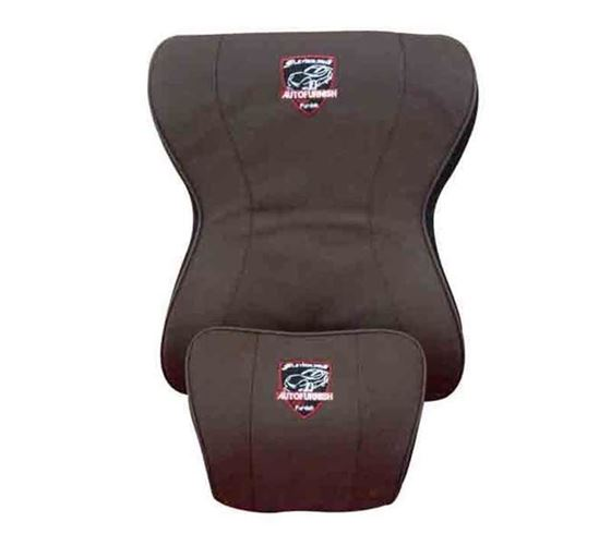 Picture of Premium Universal Full Backrest Cushion with Neck Rest - Coffee
