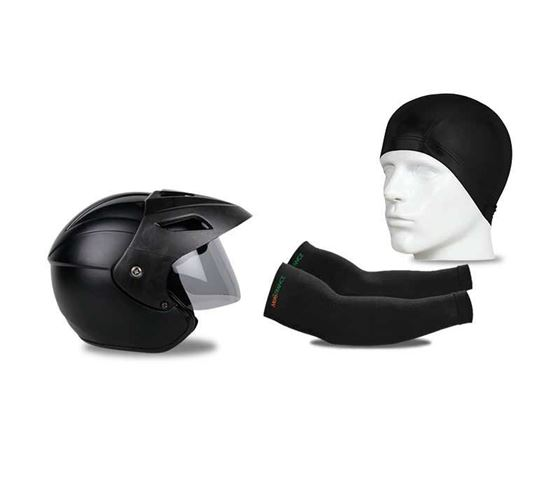 Picture of Nano Trace Open Face Helmet (Matt Black) & Skull Cap Helmet Liner & UV Protection Arm Sleeves