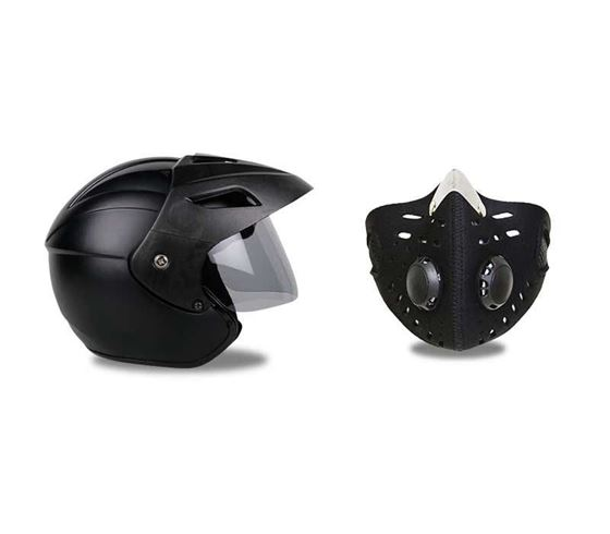 Picture of Nano Trace Open Face Helmet (Matt Black)  & Anti-pollution Half Face Mouth-muffle Dust Face Mask Specially for Bike Riders (Black)