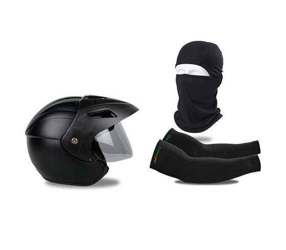 Picture of Nano Trace Open Face Helmet (Matt Black) & Balaclava Face Mask For Bike Riding & UV Protection Arm Sleeves