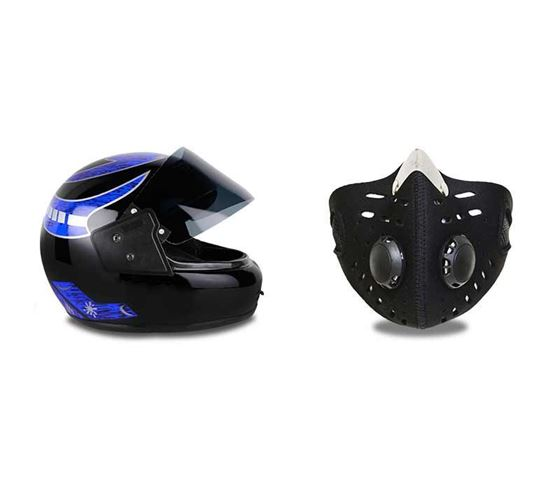 Picture of Multi Graphics Full Face Helmet (Black) & Anti-pollution Half Face Mouth-muffle Dust Face Mask Specially for Bike Riders (Black)