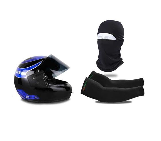 Picture of Multi Graphics Full Face Helmet (Black) & Balaclava Face Mask For Bike Riding & UV Protection Arm Sleeves