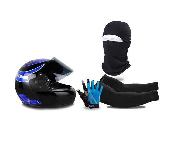 Picture of Multi Graphics Full Face Helmet (Black) & Balaclava Face Mask For Bike Riding & UV Protection Arm Sleeves & Touch Recognition Full Finger All Season Outdoor Gloves