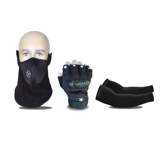 Picture of Half-Finger Laser Gloves With White Lights LED Luminous Biker Gloves & Neoprene Anti Pollution Bike Face Mask/Neck Warmer (Black) & Arm Sleeves Compression Sleeves for The Arm and Elbow