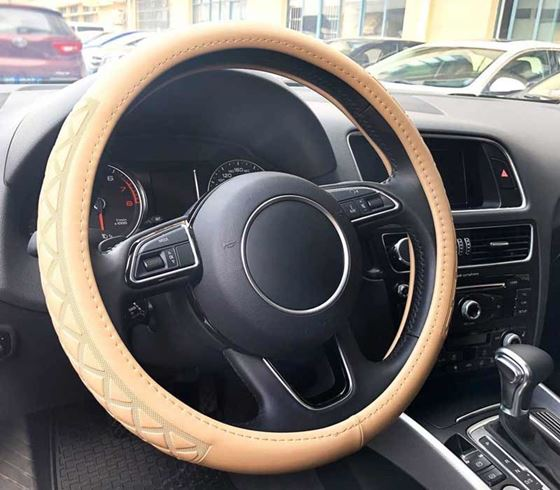 Picture of (AFSC-MF1909-BE) Universal Premium Leatherite Car Steering Wheel Cover - Medium Size (380mm)