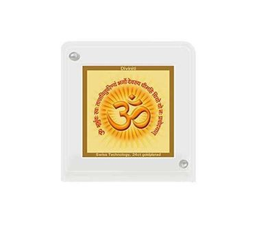 Picture of Diviniti 24k Gold Plated Car Dashboard Frame Om with Gayatri Mantra (ACF 1B)