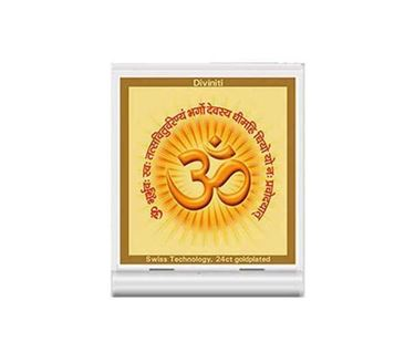 Picture of Diviniti 24k Gold Plated Car Dashboard Frame OM with Gayatri Mantra (ACF 3)
