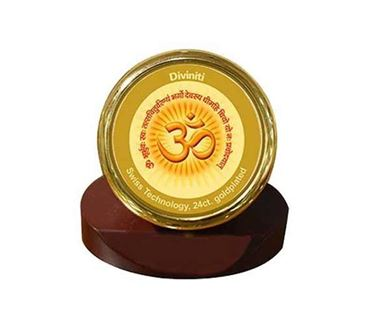 Picture of Diviniti 24k Gold Plated Car Dashboard Frame Om with Gayatri Mantra (MCF 1CR)