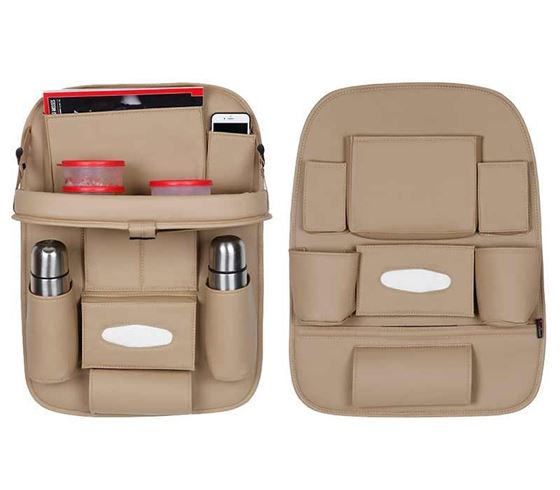 Picture of 2 in 1 Combo - 3D Car Organizer with Car Meal Tray + Without Meal Tray - Beige Color