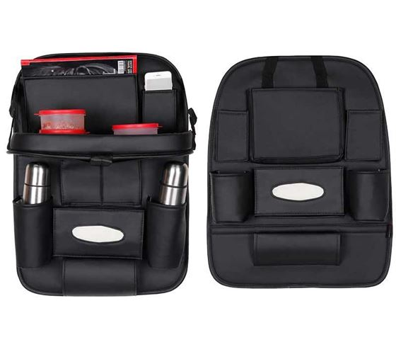 Picture of 2 in 1 Combo - 3D Car Organizer with Car Meal Tray + Without Meal Tray - Black Color