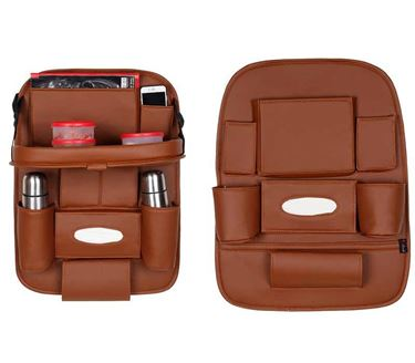 Picture of 2 in 1 Combo - 3D Car Organizer with Car Meal Tray + Without Meal Tray - Tan Color