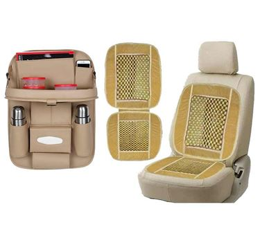 Picture of 2 in 1 Combo - 3D Car Organizer with Meal Tray Beige + Wooden Bead Seat Cushion Beige color