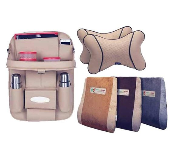 Picture of 3 in 1 Combo - Car Neck Rest Beige 2pcs + Full Backrest Cushion Beige + 3D Car Organizer with Meal Tray Beige