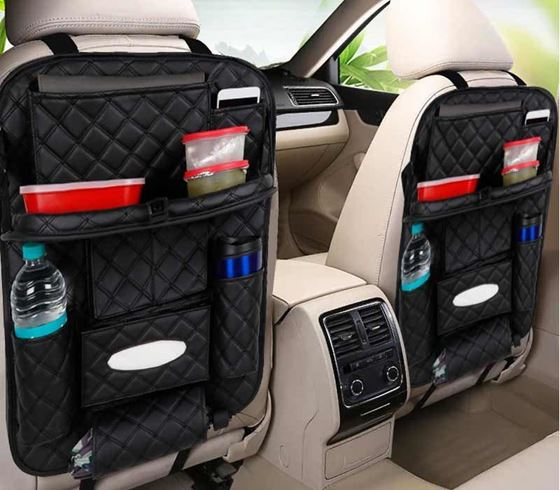 Picture of 7D Premium Car Auto Seat Back Multi Pocket Storage Bag Organizer with Car Meal Tray (Set of 2) - Black