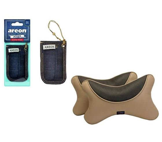 Picture of Areon Jeans Hanging Air Freshener + Premium Car Pillow Neck Rest - Set of 2