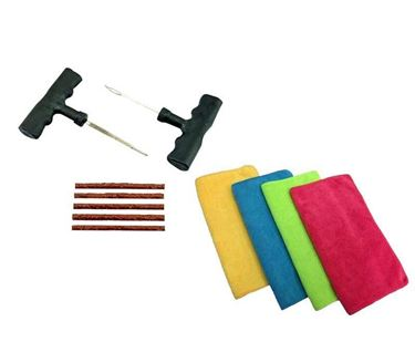 Picture of Tubeless Tyre Puncture Repair Kit + Microfiber Car Cleaning Towel Cloth (Set of 4)