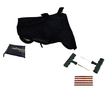Picture of Tubeless Tyre Puncture Repair Kit + Universal Two Wheeler Cover - Black