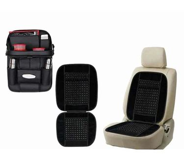 Picture of 2 in 1 Combo - 3D Car Organizer with Meal Tray Black + Wooden Bead Seat Cushion Black color