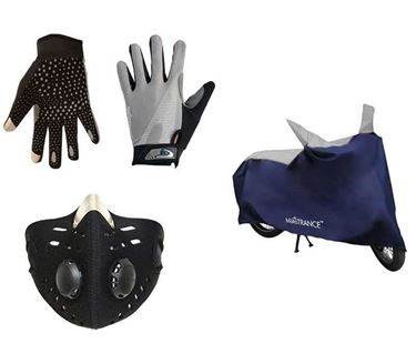 Picture of Universal Two Wheeler Cover - Sporty Blue + All Season Outdoor Gloves + Anti-pollution Face Mask for Bike Riders