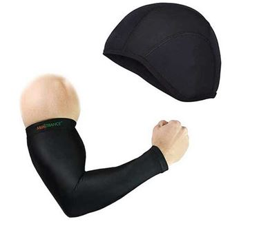 Picture of Arm Sleeves Compression Sleeves for Arm and Elbow + Skull Cap Helmet Liner