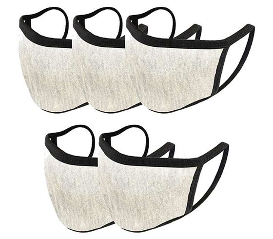 Picture of Trendy Cotton Washable Reusable Face Mask for Young Kids - Light Grey (Made in INDIA) (Set of 5)