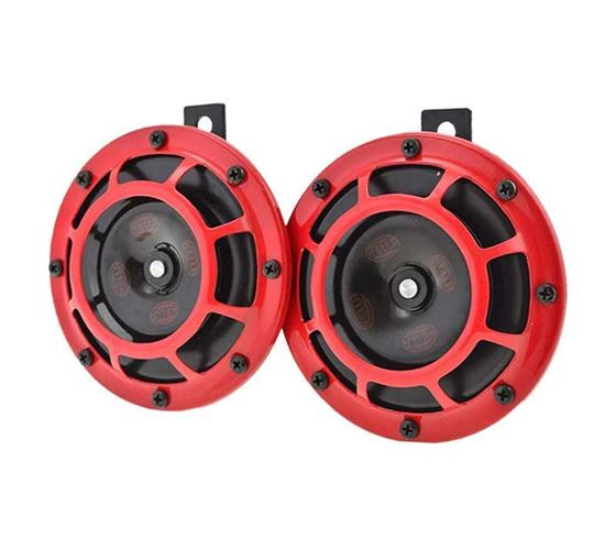 Picture of Hella Red Grill Super tone Horn Set (12V,300/500 Hz,105-118 dB @ 2 m)