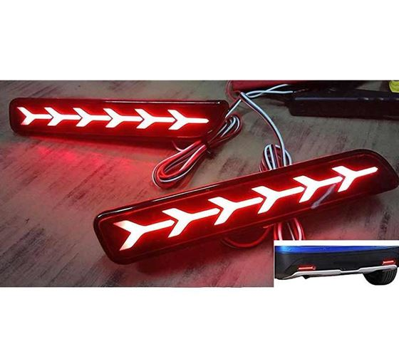 Picture of Car Reflector Led Brake Light for Bumper Rear (Red) - Set of 2 Pcs