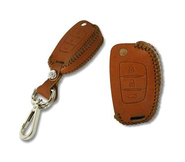 Picture of Genuine Leather Car Key Cover compatible with Skoda Rapid (Flip Key - Brown)