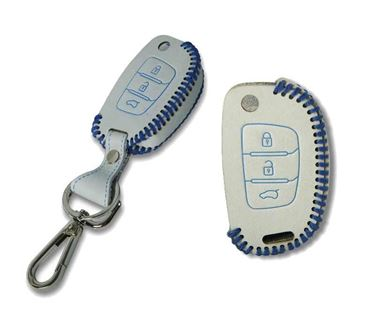 Picture of Genuine Leather Car Key Cover compatible with Hyundai i20 Active (Flip Key - White)