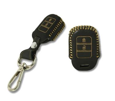 Picture of Genuine Leather Car Key Cover compatible with Honda Jazz 2015 (Normal Key - Black)