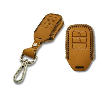 Picture of Genuine Leather Car Key Cover compatible with Honda Amaze 2018 (Smart Key - Tan)