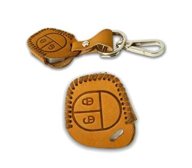 Picture of Genuine Leather Car Key Cover compatible with Maruti Suzuki Ignis (Normal Key - Tan)