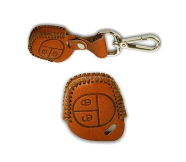 Picture of Genuine Leather Car Key Cover compatible with Maruti Suzuki S-Cross (Normal Key - Brown)