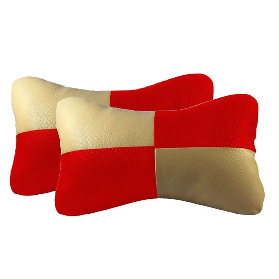Picture of Set of 2 Car Neck Rest Cushion - Beige & Red