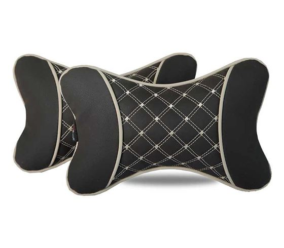 Picture of 7D Premium Car Pillow Neck Rest (Hecta-6840) - Set of Two - Coffee