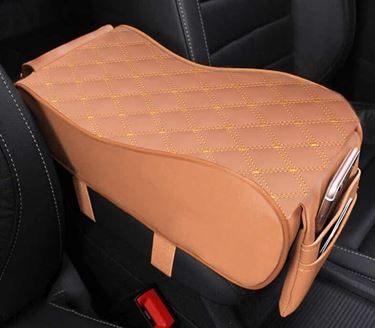 Picture of 7D Premium Car PU Leather Memory Foam Center Console Armrest with Pocket (Tan)