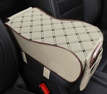 Picture of 7D Premium Car PU Leather Memory Foam Center Console Armrest with Pocket (Beige Coffee)