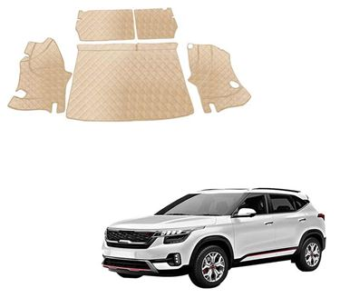 Picture of 7D Luxury Custom Fitted Car Trunk Mat for KIA Seltos 2019 - Beige