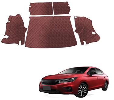 Picture of 7D Luxury Custom Fitted Car Trunk Mat for Honda City 2020 - Coffee