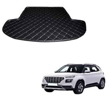 Picture of 7D Custom Fitted Car Trunk Base Mat for Hyundai Venue 2019 - Black