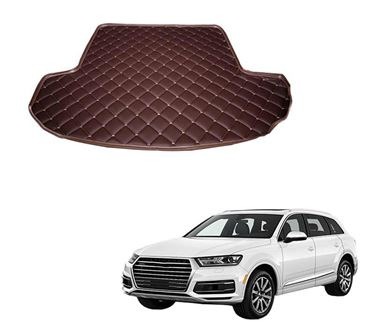 Picture of 7D Custom Fitted Car Trunk Base Mat for Audi Q7 (7Seater) 2017 - Coffee