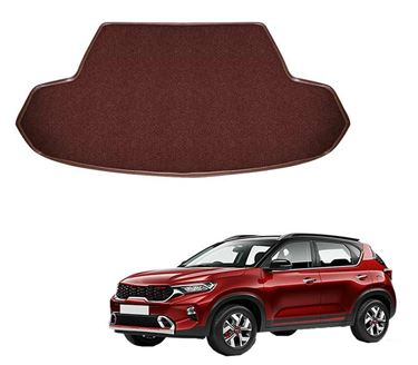Picture of Curly Custom Fitted Car Trunk Base Mat for KIA Sonet 2020 - Coffee