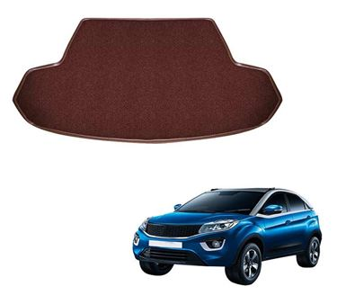 Picture of Curly Custom Fitted Car Trunk Base Mat for Tata Nexon - Coffee